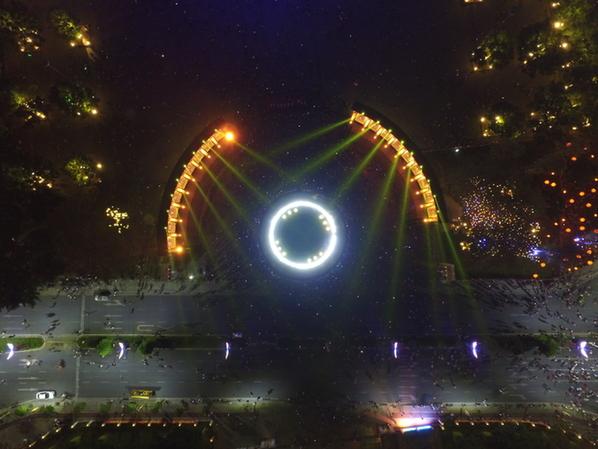 新华网无人机队航拍首届中国灯都灯光文化节